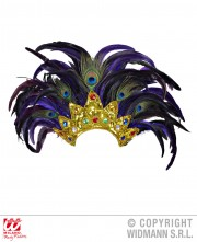 coiffe brésilienne, accessoire carnaval de rio, coiffe de carnaval, coiffure brésilienne, accessoire déguisement, déguisement brésilienne, coiffe brésilienne à plumes Coiffe Brésilienne, Violette