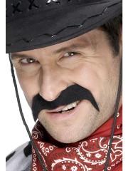 fausses moustaches, postiche, moustache postiche, fausses moustaches réalistes, fausse moustache de déguisement, moustache de cowboy Moustache Cowboy, Noire
