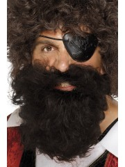 fausse barbe, fausses moustaches, postiche, barbe postiche, fausse barbe réaliste, fausse barbe de déguisement Barbe Frisée Châtain