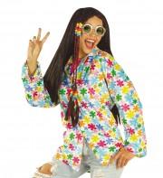 chemise hippie, déguisement de hippie, costume de hippie, costume années 70, déguisements années 70, accessoire déguisement hippie, accessoire hippie déguisement Chemise Hippie Velours, Fleurs Peace