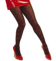 collants coeurs, collant noir coeurs rouges, collants déguisement, accessoires déguisement, accessoire déguisement collants Collants Noirs, Coeurs Rouges