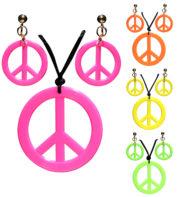collier hippie déguisement, collier hippie et boucles d'oreilles hippies, collier peace and love, accessoires déguisement hippie, accessoires hippie, collier déguisement hippie, collier déguisement années 70 Collier Hippie et Boucles d'Oreilles, Couleurs