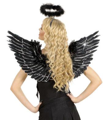 ailes de déguisement, ailes pour se déguiser, ailes d'anges noires, ailes d'ange noir, ailes en plumes, ailes noires, accessoire halloween, ailes de démon Ailes d'Ange en Plumes, Noires et Argent