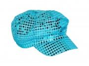 casquette disco, casquettes paillettes, accessoires déguisement disco années 80, casquette sequins Casquette Disco Années 80, Sequins Bleus