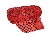 casquette disco, casquettes paillettes, accessoires déguisement disco années 80, casquette sequins Casquette Disco, Sequins Rouges