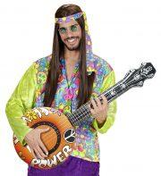 banjo gonflable, faux banjo, accessoire déguisement, faux instrument de musique, accessoire hippie déguisement, accessoire déguisement, fausse guitare, aux instrument de musique déguisement, accessoire déguisement hippie Banjo Gonflable, Orange