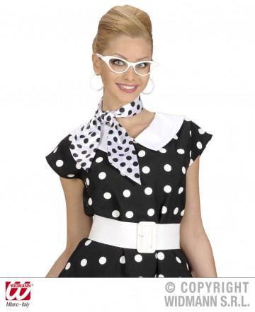 foulard à pois années 50, foulard années 60, accessoire années 50, foulard satin, foulard à pois noirs et blancs Foulard à Pois, Blanc et Noir