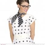 foulard à pois années 50, foulard années 60, accessoire années 50, foulard satin, foulard à pois noirs et blancs Foulard à Pois, Noir et Blanc