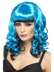 perruque pour femme, acheter perruque femme à paris, perruque de déguisement, perruque pas cher, perruque bleu et noir Perruque Ange Curly, Bleue
