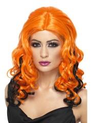 perruque pour femme, acheter perruque femme à paris, perruque de déguisement, perruque pas cher, perruque ondulée, perruque orange et noire, perruque de sorcière Perruque Sorcière Garden, Orange et Noire