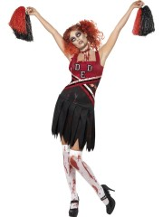 déguisement pompon girl zombie, déguisement halloween femme, costume halloween femme, costume cheerleader zombie femme, déguisement cheerleader zombie adulte Déguisement PomPom Girl, Cheerleader Zombie