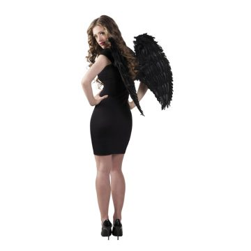 ailes de déguisement, ailes pour se déguiser, ailes d'anges noires, ailes d'ange noir, ailes en plumes, ailes noires, accessoire halloween, ailes de démon Ailes d'Ange, Plumes Noires, 65×65