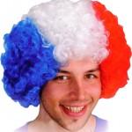 perruque france, perruque de supporter, accessoires euro 2016, accessoires france, boutique supporter, supporter euro 2016, tricolore, perruque tricolore Perruque de Supporter France, Afro bleu blanc rouge