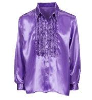 chemise disco homme, déguisement disco homme, costume disco homme, chemise années 80 homme, déguisement années 80 homme, chemise à jabot déguisement, chemise disco violette Déguisement Disco, Chemise Jabot Violette