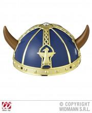 casque de viking, coiffe de viking, accessoires déguisements viking Casque de Viking, Bleu et Or