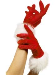 gants de mère noel, accessoire mère noel déguisement, accessoire gants déguisement, gants avec fourrure Gants de Mère Noël