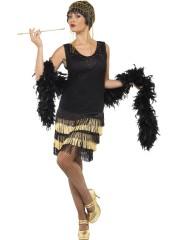 robe charleston déguisement, déguisement charleston, déguisement années 30, robe années 20, costume cabaret, déguisement cabaret femme Déguisement Charleston Flapper, Noir et Or