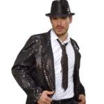 cravate sequins noirs, cravate à paillettes, cravate déguisement, accessoire déguisement, accessoire disco, cravate disco, cravate paillettes noire Cravate Fine Paillettes Sequins, Noire
