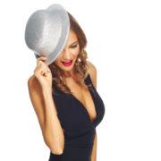 chapeaux melons, chapeaux paillettes, chapeau melon, chapeaux de fête, accessoires chapeaux melons Chapeau Melon à Paillettes, Argent