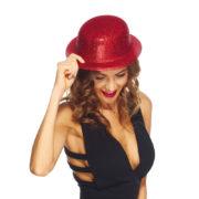 chapeaux melons, chapeaux paillettes, chapeau melon, chapeaux de fête, accessoires chapeaux melons Chapeau Melon à Paillettes, Rouge