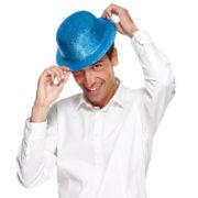 chapeaux melons, chapeaux paillettes, chapeau melon, chapeaux de fête, accessoires chapeaux melons Chapeau Melon à Paillettes, Turquoise