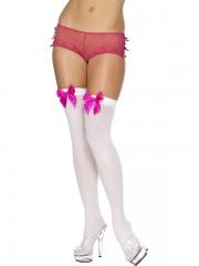 accessoire déguisement, collant déguisement, bas déguisement, bas blanc noeud satin, bas marquise, accessoire marquise, bas sexy, collants sexy, accessoires sexy, bas blancs noeud rose Bas Blancs, Noeuds Satin Rose Fuchsia
