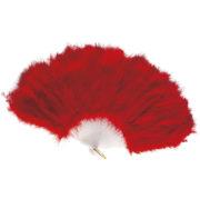 éventail en plumes rouges, accessoires en plumes, éventails de déguisement, accessoires carnaval, accessoires années 30 Eventail en Plumes Rouges