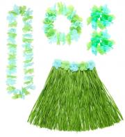 Kit Hawaï, jupe hawaï, collier hawaï, accessoires hawaïens déguisement, jupe hawaïenne déguisement, déguisement hawaï, déguisement jupe hawaïenne Kit Hawaï, Hula Vert