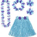 Kit Hawaï, jupe hawaï, collier hawaï, accessoires hawaïens déguisement, jupe hawaïenne déguisement, déguisement hawaï, déguisement jupe hawaïenne Kit Hawaï, Hula Bleu
