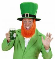 chapeau saint patrick, chapeau barbe rousse, chapeau humoristiques, chapeaux hauts de forme, chapeaux paris, accessoires de déguisements Chapeau Saint Patrick, avec Barbe Rousse