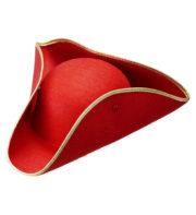 chapeaux tricornes, tricorne rouge, chapeau tricorne, chapeau vénitien Chapeau Tricorne, Rouge liseré Or