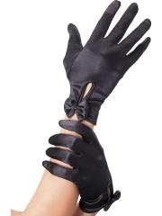 gants déguisement, accessoire gants déguisement, gants femmes déguisement, gants années 20, gants années 30 Gants Courts, Satin Noir avec Noeuds