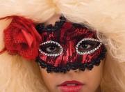 masque vénitien, loup vénitien Loup Dentelle et Rose, Rouge et Noir