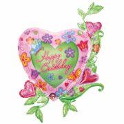 ballon hélium, ballon anniversaire fleurs et coeurs Ballon Aluminium, Happy Birthday Coeur Fleurs
