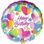 ballon hélium, ballon anniversaire, ballon happy birthday Ballon Aluminium, Happy Birthday Coeurs