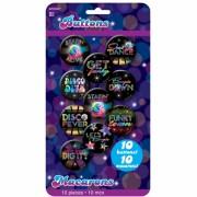 badges disco, accessoire années 80, accessoire déguisement disco, déguisement disco, déguisement années 80, faux badges, badges disco Badges Disco Fever, Années 80