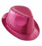 chapeaux borsalino, chapeaux paillettes, accessoires disco années 80, chapeaux paris, chapeaux déguisements, accessoires déguisements disco Chapeau Borsalino Paillettes Sequins, Rose Fuchsia