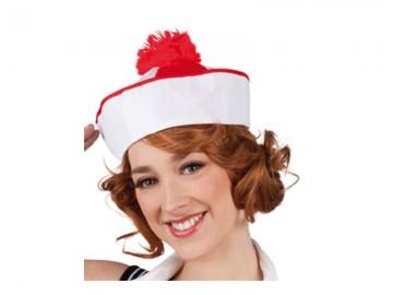 bob marin, chapeau de marin, bob marin à pompons, accessoire déguisement de marin, chapeaux de la marine Bob Marin, Rouge