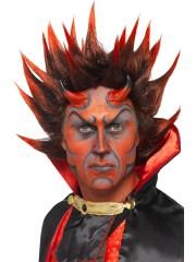 perruque pour homme, perruque pas chère, perruque de déguisement, perruque homme, perruque de diable, perruque rouge Perruque de Diable Lucifer, Rouge et Noire