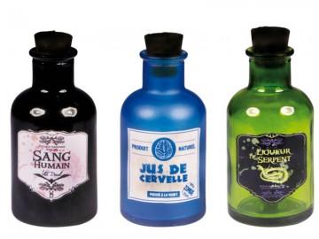 bouteilles vari es halloween en verre aux feux de la f te. Black Bedroom Furniture Sets. Home Design Ideas