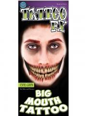 tatouage temporaire, faux tatouage, faux tatouage déguisement, faux tatouage halloween, maquillage halloween, faux tatouage blessures, faux tatouages effets spéciaux déguisement, tatouage bouche Tatouage Temporaire, Bouche Effrayante