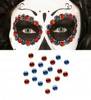 maquillage mexicain de la mort, perles maquillage, strass de maquillage déguisement Perles de Maquillage Mexicain, Rouges et Bleues