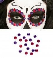 maquillage mexicain de la mort, perles maquillage, strass de maquillage déguisement Perles de Maquillage Mexicain, Roses et Violettes