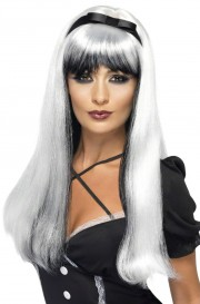 perruque femme, perruque halloween, perruque pas cher paris, perruque sorcière, perruque blanche Perruque Bewitch, Noire et Blanche