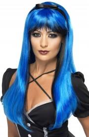 perruque femme, perruque halloween, perruque pas cher paris, perruque sorcière, perruque bleue Perruque Bewitch, Noire et Bleue
