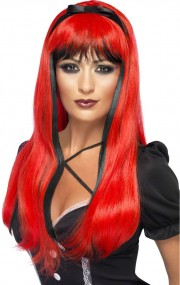 perruque femme, perruque halloween, perruque pas cher paris, perruque sorcière, perruque rouge Perruque Bewitch, Noire et Rouge