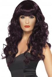 perruque pour femme, acheter perruque femme à paris, perruque de déguisement, perruque pas cher, perruque ondulée, perruque violette prune, perruque de sirène Perruque Sirène, Prune Violette
