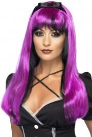perruque femme, perruque halloween, perruque pas cher paris, perruque sorcière, perruque violette Perruque Bewitch, Noire et Violette
