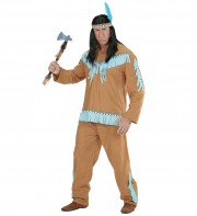 déguisement d'indien homme, costume d'indien adulte, costume d'indien homme, tunique d'indien déguisement, déguisement indien homme, déguisement indien adulte, déguisement homme Déguisement Indien, Marron et Turquoise