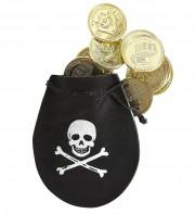 bourse de pirate, pièces de pirates, fausses pièces d'or, accessoire déguisement pirate, accessoire pirates, fausse bourse de pirate déguisement Bourse de Pirate avec Pièces d'Or